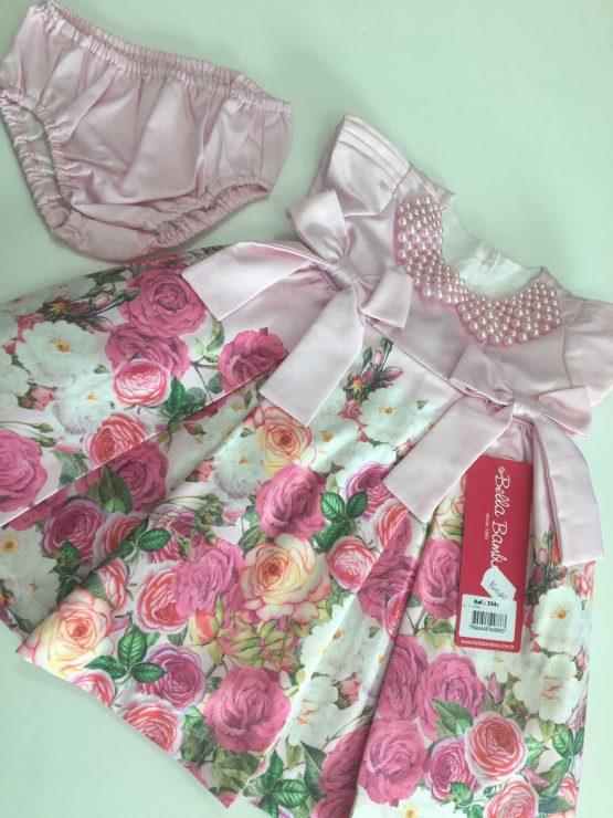Vestido Barrado Floral Com Perolas