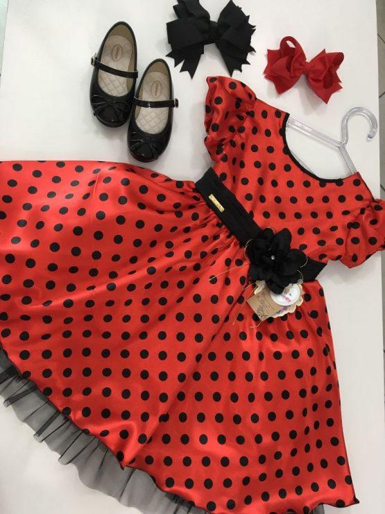 Vestido Vermelho Bolas Pretas