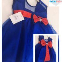 Vestido Azul Detalhe Vermelho