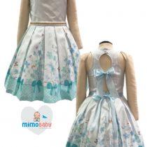 Vestido Bella Bambina Menina de Laço Azul