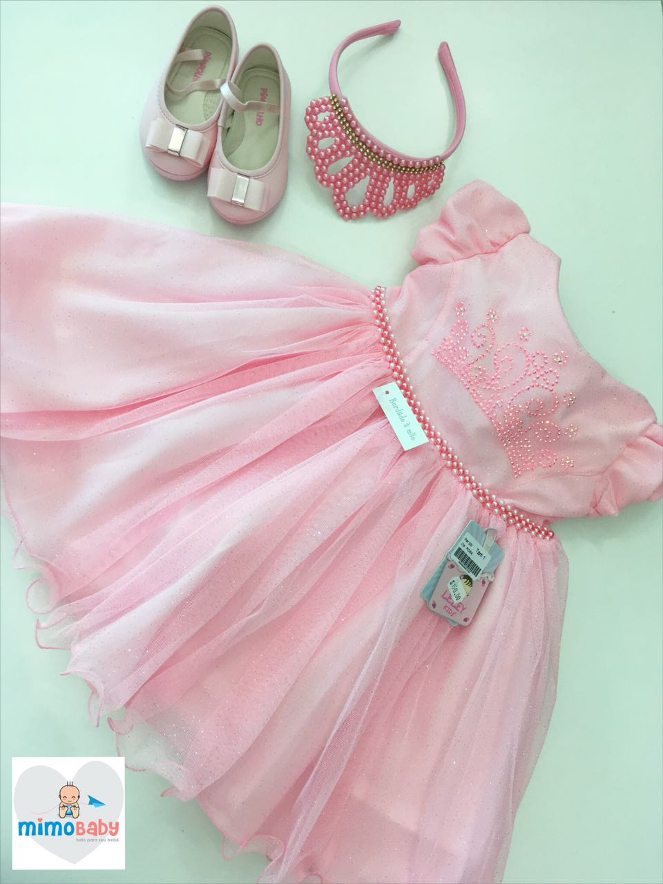 Vestido Princesa Rosa Gliter
