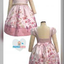 Vestido Bella Bambina Menina de laço Rosa