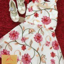 Vestido Luxo Bordado Flores